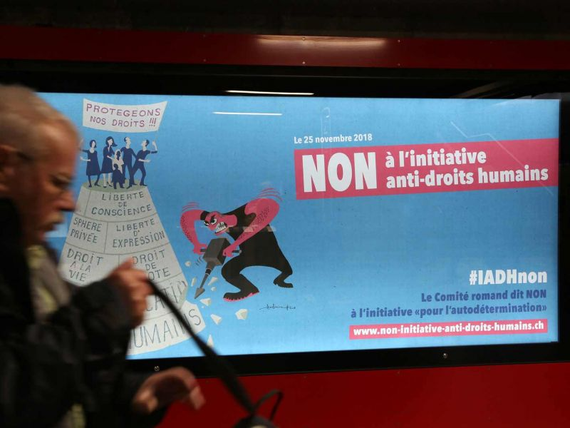 Affiche : Non à l'initiative anti-droits humains